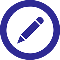 Dark blue pencil icon inside white circle with blue border