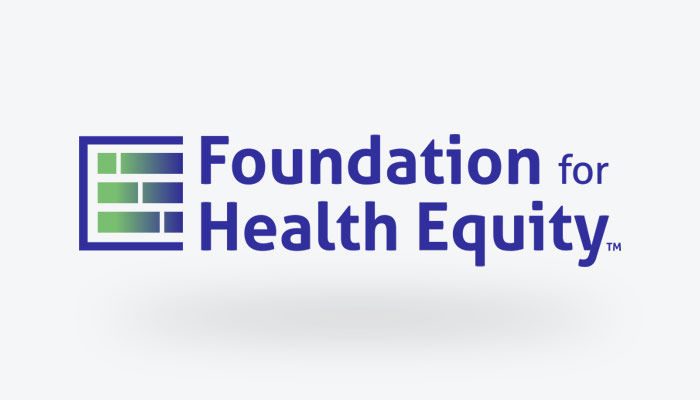 Foundation For Health Equity Logo - Blue Sans-serif Type With Square And Gradient Icon To Left