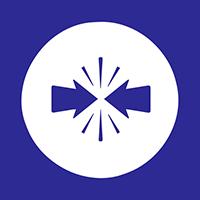 Dark blue arrows icon inside white circle with blue border