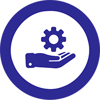 Dark blue hand holding gear icon inside white circle with blue border